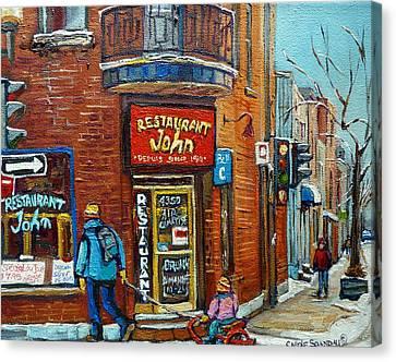 Saint Henri Street In Winter Canvas Print by Carole Spandau