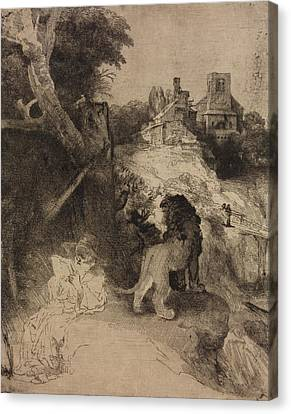 Saint Jerome In An Italian Landscape Canvas Print by Rembrandt