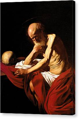 Saint Jerome In Meditation Canvas Print by Caravaggio