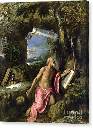 Hourglass Canvas Print - Saint Jerome by Titian