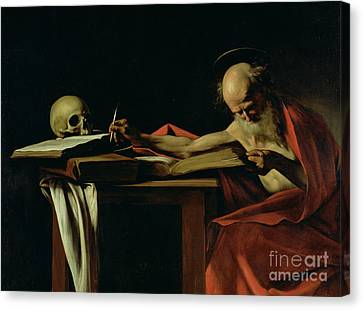 Old Man Canvas Print - Saint Jerome Writing by Caravaggio