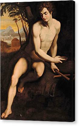 Saint John At The Fountain Canvas Print by Cristofano Allori