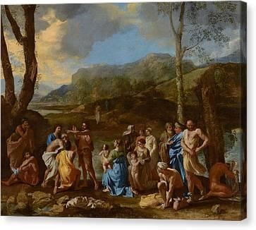 Saint John Baptizing In The River Jordan Canvas Print by Nicolas Poussin
