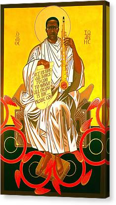 Saint John Coltrane Enthroned Canvas Print by Mark Dukes