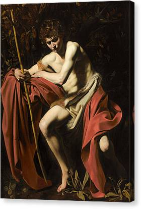 Saint John The Baptist In The Wilderness Canvas Print by Caravaggio