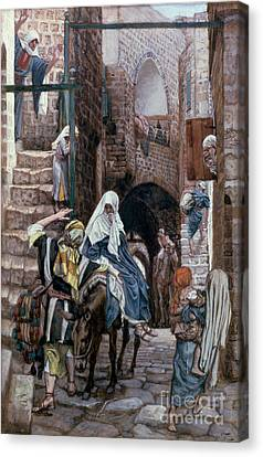 Bible Verse Canvas Print - Saint Joseph Seeks Lodging In Bethlehem by Tissot