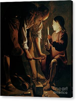 Saint Canvas Print - Saint Joseph The Carpenter  by Georges de la Tour