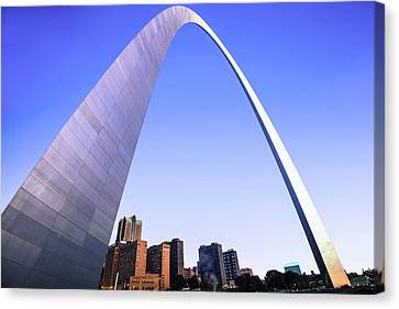 Saint Louis Canvas Print - Saint Louis Downtown Skyline Clear Morning Cool Blue by Gregory Ballos