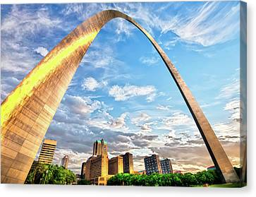 Saint Canvas Print - Saint Louis Skyline Morning Under The Arch by Gregory Ballos