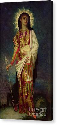 Saint Margaret Slaying The Dragon Canvas Print by Antoine Auguste Ernest Herbert