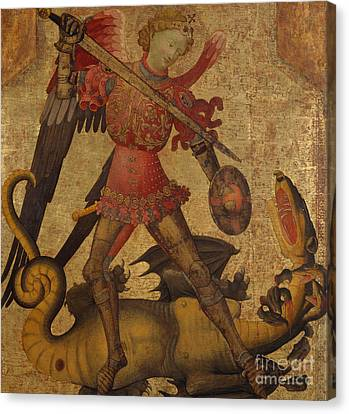 Saint Michael And The Dragon Canvas Print by Spanish School