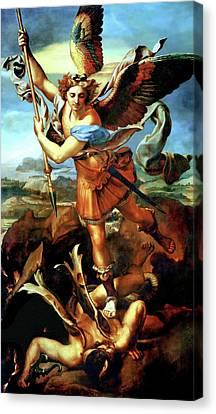 Saint Michael Overthrowing The Demon  Canvas Print by Raphael