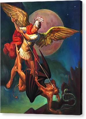 Canvas Print featuring the painting Saint Michael The Warrior Archangel by Svitozar Nenyuk