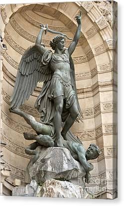 Saint Michel Striking Down The Dragon II Canvas Print