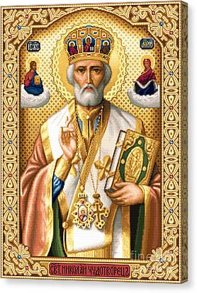 Orthodox Canvas Print - Saint Nicholas by Stoyanka Ivanova