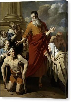 Saint Paul Healing The Cripple At Lystra Canvas Print by Karel Dujardin