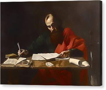 Saint Paul Writing His Epistles  Canvas Print