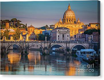 Tourists Canvas Print - Saint Peters Basilica by Inge Johnsson