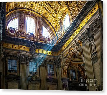 Saint Peter's Beams Of Light Canvas Print by Inge Johnsson