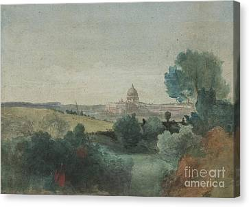 Saint Peter's Seen From The Campagna Canvas Print by George Snr Inness