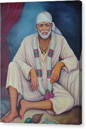 Saint Sai Baba, Shirdi Sai Baba, Portrait,online Art Gallery, Oil Painting On Canvas. Canvas Print by B K Mitra
