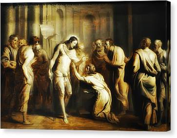 Saint Thomas Touching Christ's Wounds Canvas Print by Bill Cannon