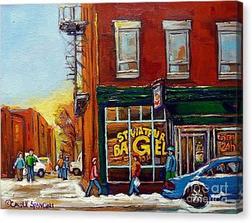 Saint Viareur And Park Avenue Bagel Shop Canvas Print by Carole Spandau
