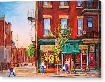 Saint Viateur Bagel Canvas Print by Carole Spandau