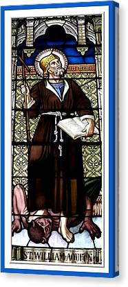 Saint William Of Aquitaine Stained Glass Window Canvas Print