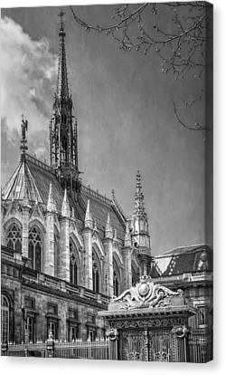 Sainte Chapelle Paris Bw Canvas Print by Joan Carroll