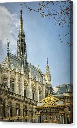 Sainte Chapelle Paris With Border Canvas Print by Joan Carroll