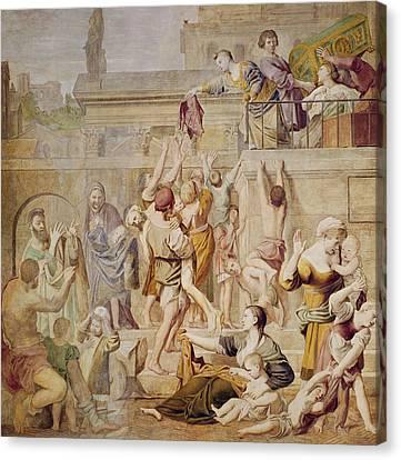 Saitn Cecilia Distributing Alms Canvas Print by Domenichino