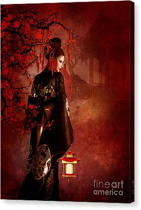 Sakura Red Canvas Print by Shanina Conway