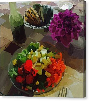 Salad And Dressing With Squash And Purple Dahlia Canvas Print