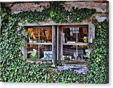 Salado Log Cabin Window Canvas Print by Linda Phelps