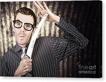 Pruning Canvas Print - Sales Man Cutting Prices With Pruning Saw by Jorgo Photography - Wall Art Gallery