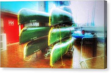 Canvas Print featuring the photograph Salford Quays Boats by Isabella F Abbie Shores FRSA