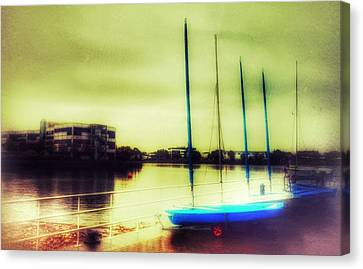 Canvas Print featuring the photograph Salford Quays Boats Waiting by Isabella F Abbie Shores FRSA