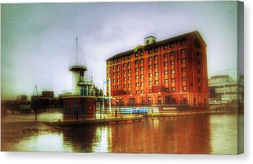 Canvas Print featuring the photograph Salford Quays Edge by Isabella F Abbie Shores FRSA
