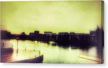 Canvas Print featuring the photograph Salford Quays Promenade by Isabella F Abbie Shores FRSA