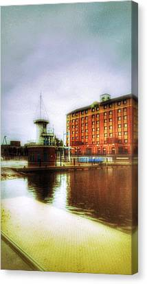Canvas Print featuring the photograph Salford Quays Red Brick Building by Isabella F Abbie Shores FRSA
