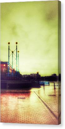 Canvas Print featuring the photograph Salford Quays Walkway by Isabella F Abbie Shores FRSA