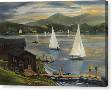 Sailing At Lake Morey Vermont Canvas Print by Nancy Griswold