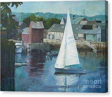Saling In Rockport Ma Canvas Print by Claire Gagnon