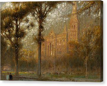 Salisbury Cathedral Canvas Print by Albert Goodwin