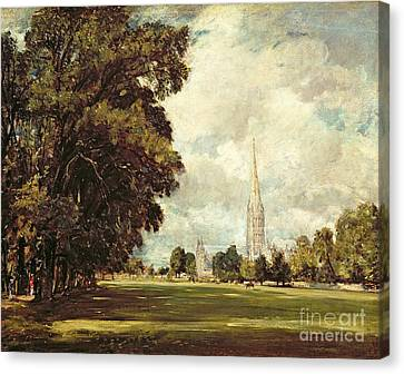 Salisbury Cathedral From Lower Marsh Close Canvas Print by John Constable