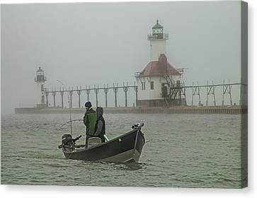 Salmon Fishermen In The Fog By The St. Joseph Lighthouse Canvas Print by Randall Nyhof