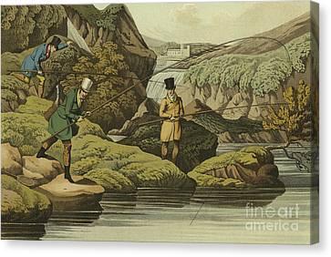 Salmon Fishing Canvas Print by Henry Thomas Alken