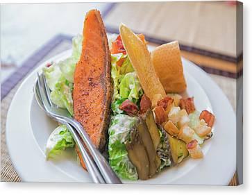 Salmon Salad  Canvas Print by Anek Suwannaphoom
