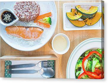 Salmon Salad With Bread And Bacon, Slim, Fit, Clean And Healthy Food Canvas Print by Anek Suwannaphoom